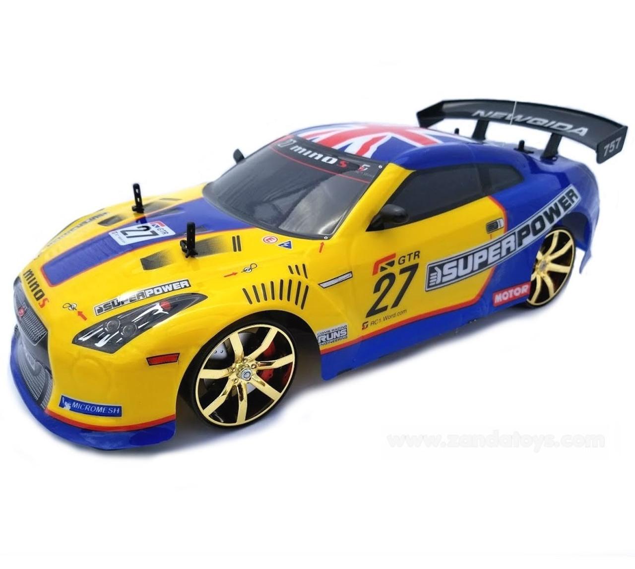 1/10 Nissan GTR Drift RC Car 4WD Electric Yellow & Blue - Zandatoys