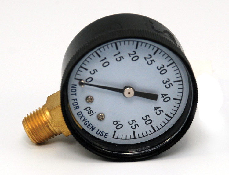 """Pressure Gauge 1/4"""" 60 PSI Side Mount Clam Shell  -  AC296C"""