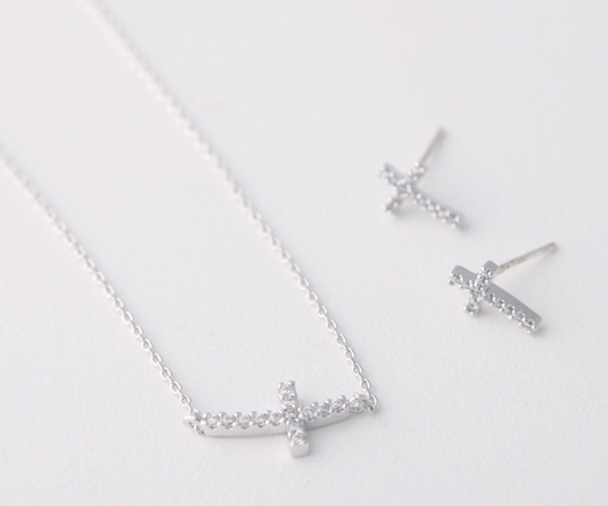 Swarovski Curved Sideways Cross Earrings White Gold