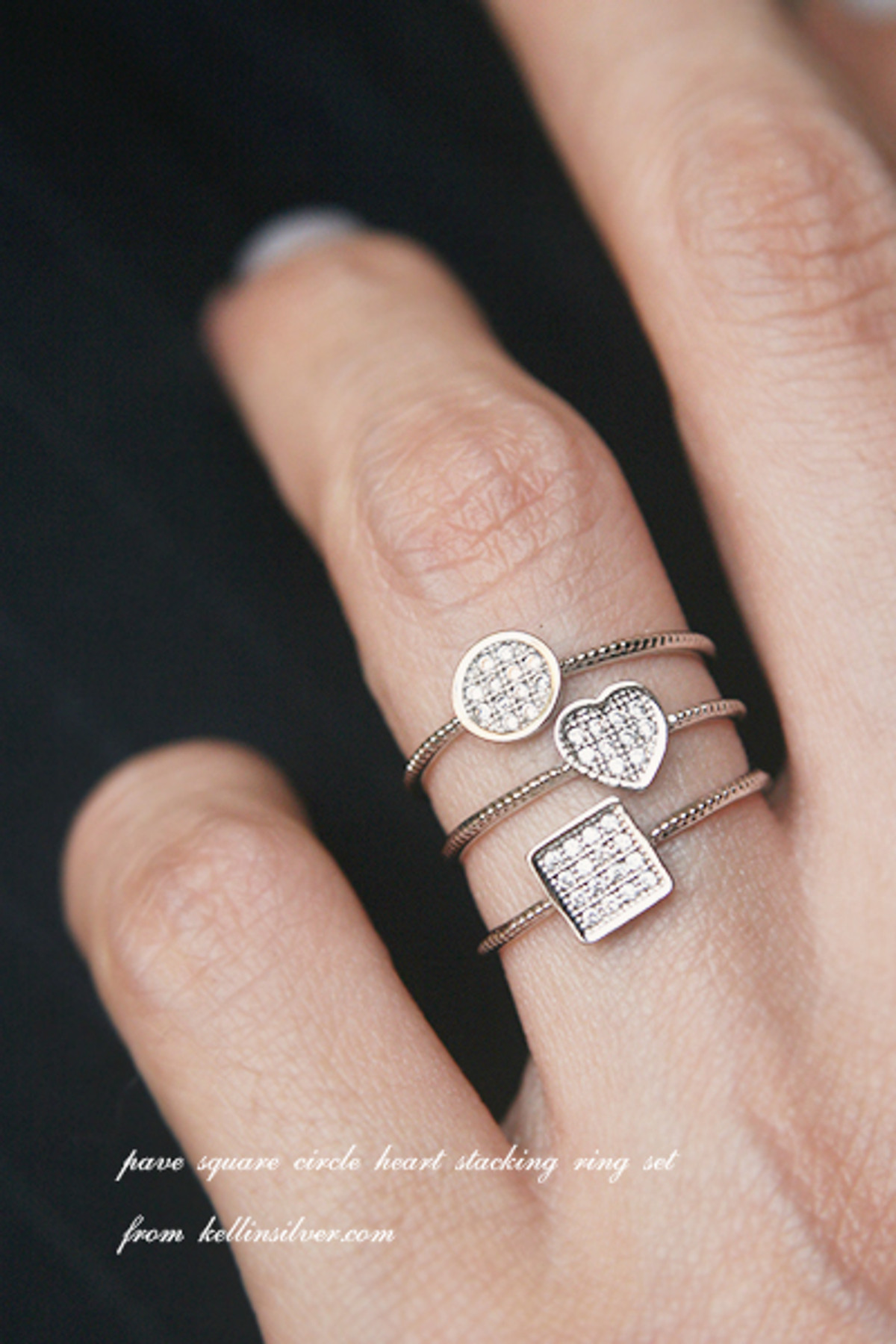 Pave Square Round Heart Stacking Ring Set White Gold