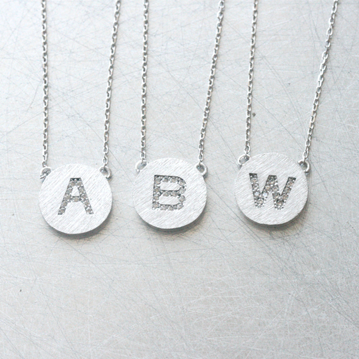 Pave white gold disc personalized initial necklace sterling silver pave white gold disc personalized initial necklace sterling silver from kellinsilver aloadofball Images
