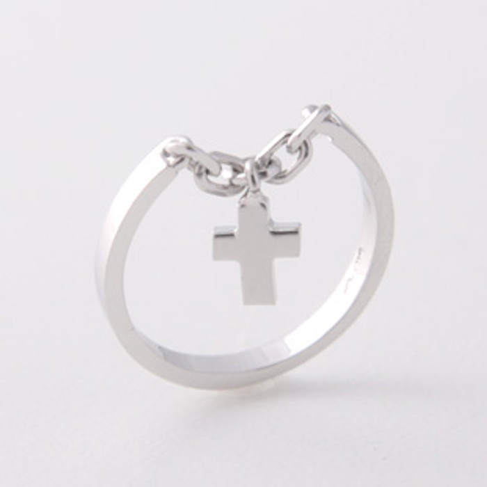 White Gold Cross Charm Chain Ring Sterling Silver