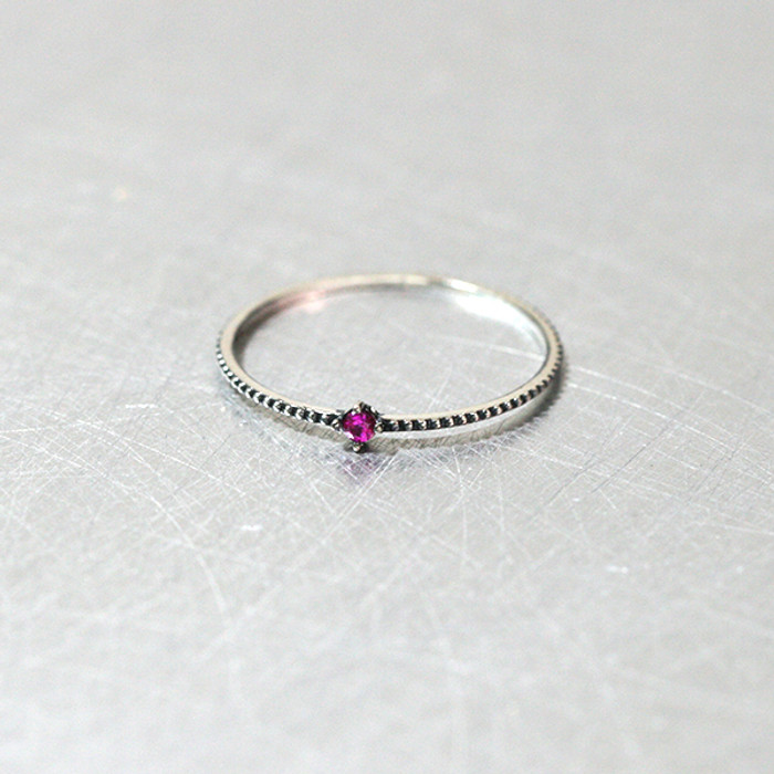 Ruby Oxidized Milgrain Thin Ring from kellinsilver.com