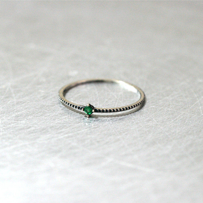 Emerald Oxidized Milgrain Thin Ring from kellinsilver.com