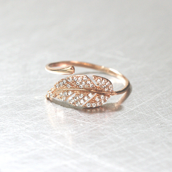Rose Gold CZ Olive Leaf Bypass Ring Sterling Silver from kellinsilver.com
