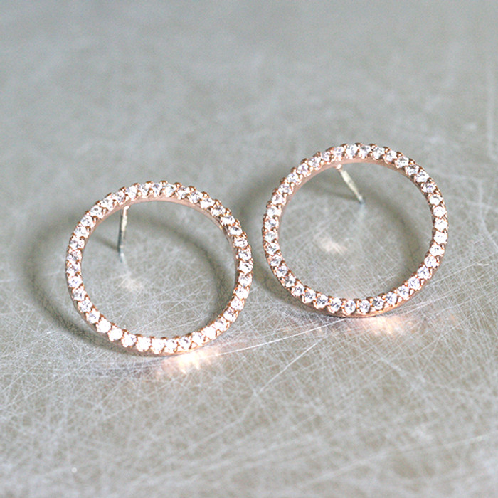 Rose GOld Swarovski Outline Circle Earrings Stud from kellinsilver.com