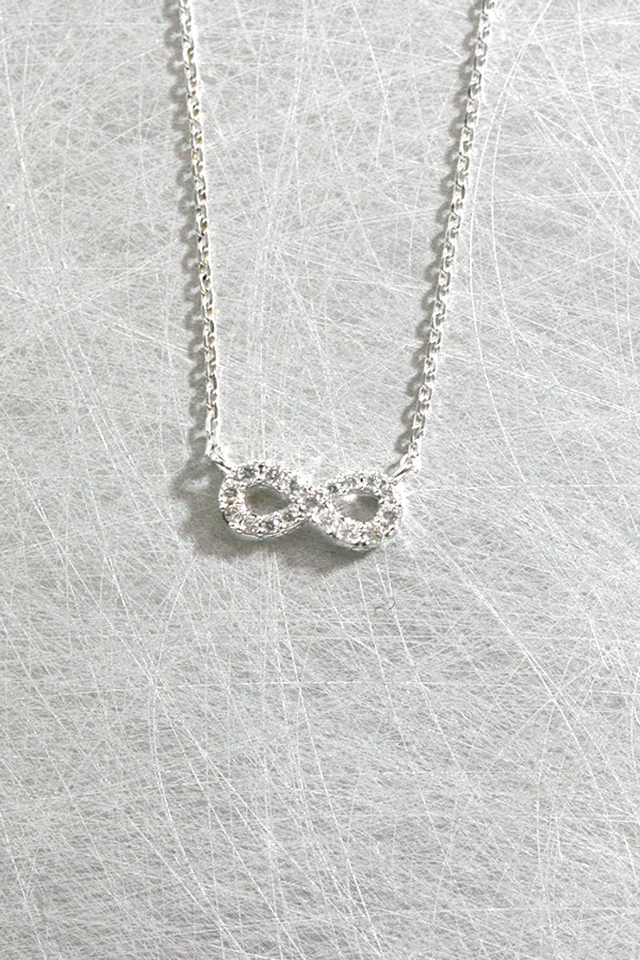 Swarovski White Gold Tiny Infinity Necklace Sterling Silver at kellinsilver.com
