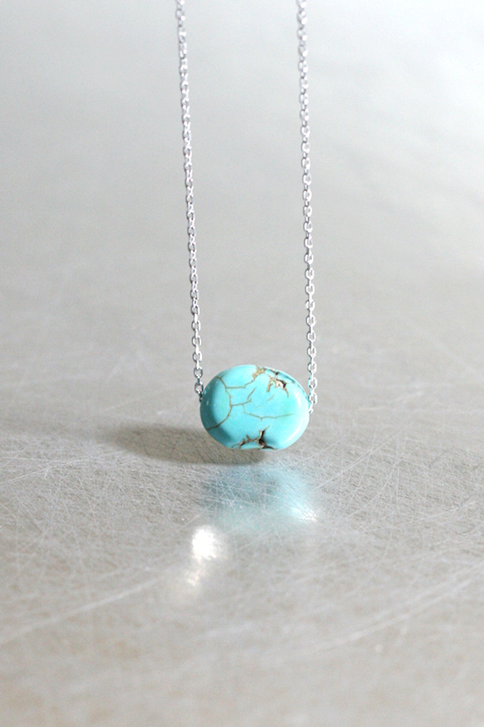 Gemstone Turquoise Sterling Silver Necklace from kellinsilver.com