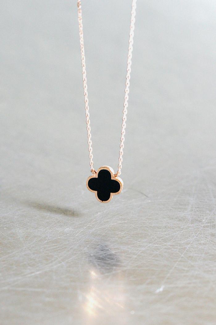 Black Four Leaf Clover Rose Gold Necklace Sterling Silver from kellinsilver.com