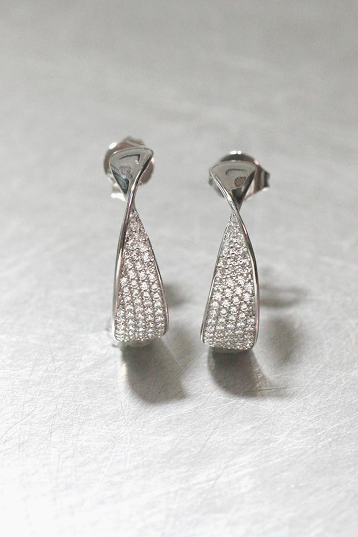 CZ Pave Twist Hoop Earrings from kellinsilver.com