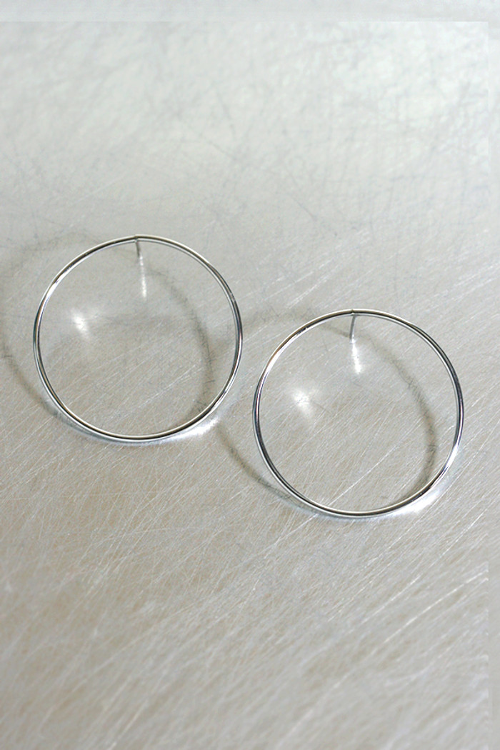Sterling Silver 35mm Circle Stud Earrings White Gold from kellinsilver.com