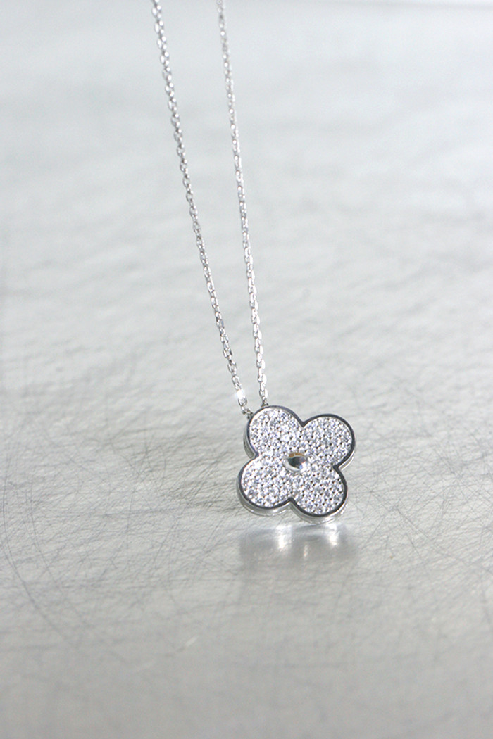 White Gold Pave Clover Necklace Sterling Silver from kellinsilver.com