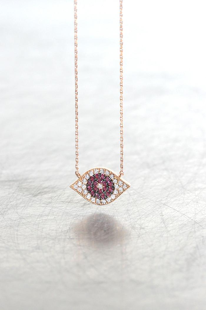 Rose Gold Swarovski Ruby Evil Eye Necklace Sterling Silver from kellinsilver.com