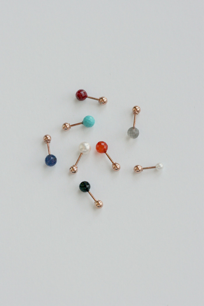 14k Rode Gold Gemstone Ball Piercing Earrings from kellinsilver.com