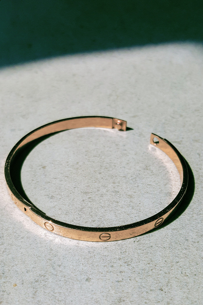Rose Gold Love Bangle Bracelet Sterling Silver from kellinsilver.com