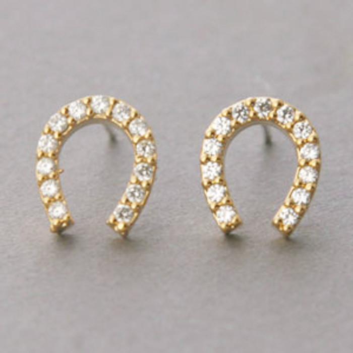 Swarovski Horseshoe Stud Earrings Yellow Gold