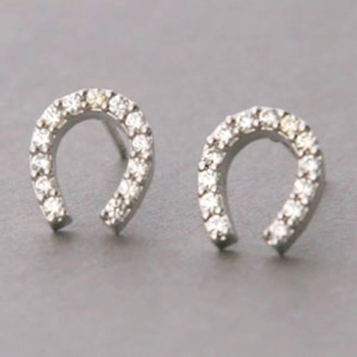 Swarovski Horseshoe Stud Earrings White Gold