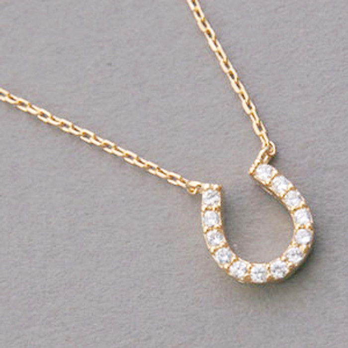 Yellow Gold Swarovski Horseshoe Necklace Sterling Silver