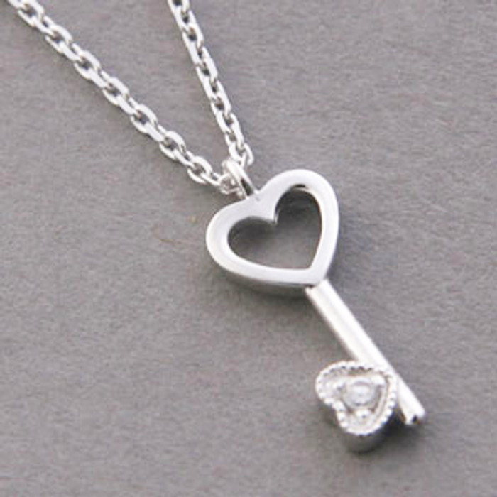 CZ Tiny Heart Skelecton Key Necklace Sterling Silver