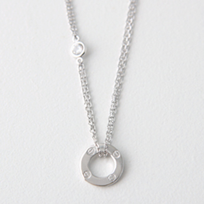 CZ Sterling Silver Circle Love Necklace