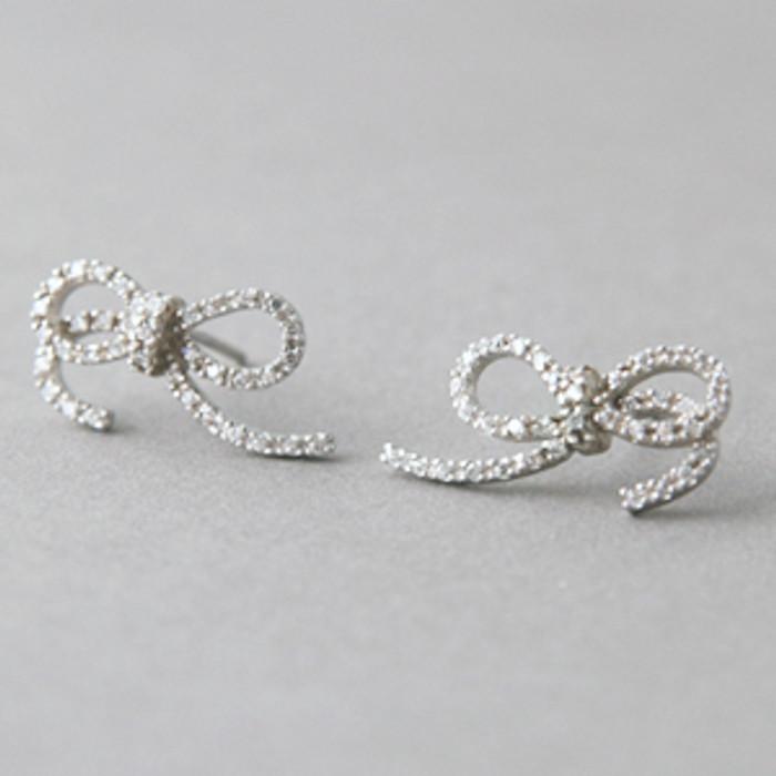 CZ Bow Earrings Sterling Silver