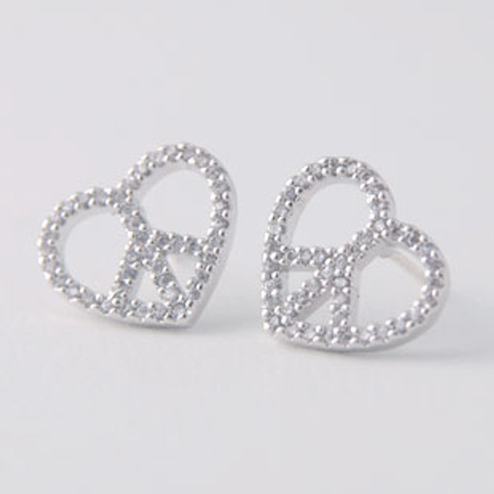 Swarovski Peace Heart Earrings White Gold