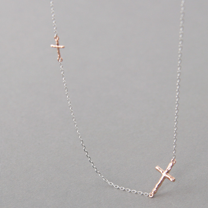 Tiny Hammered Rose Gold Sideways Crosses Necklace Sterling Silver from kellinsilver.com