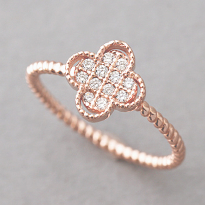 CZ Rose Gold 4 Leaf Clover Ring Sterling Silver from kellinsilver.com