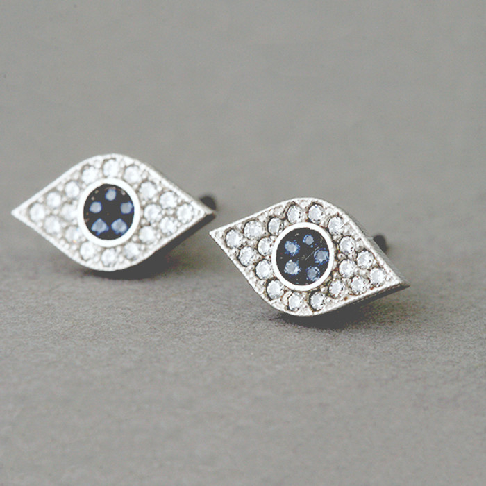 Pave Sapphire Swarovski Evil Eye Stud Earrings White Gold