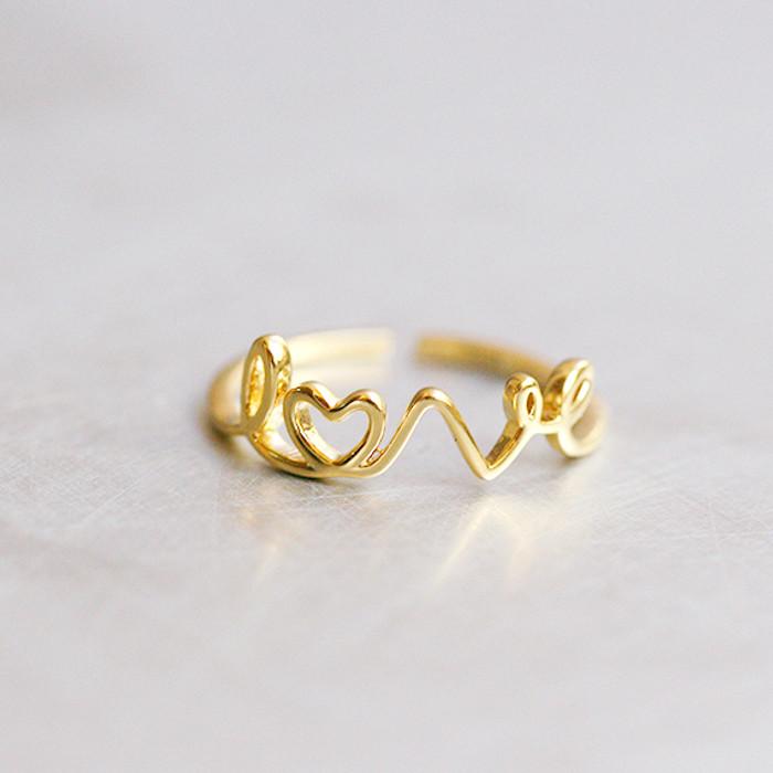 Gold Love Script Ring Wrap from kellinsilver.com