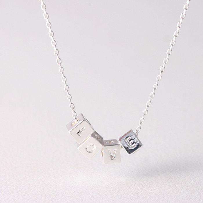 White Gold Cube Love Necklace Sterling Silver from kellinsilver.com