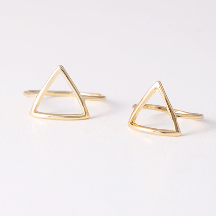 Gold Triangle Midi Rings Set of 2 from kellinsilver.com