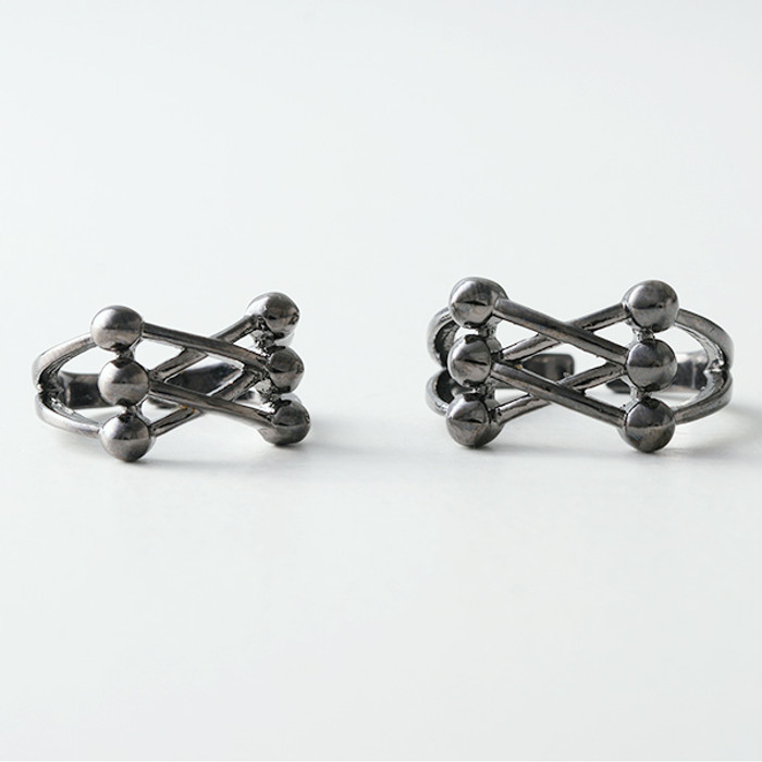 Black Corset Knuckle Ring Set of 2 from kellinsilver.com