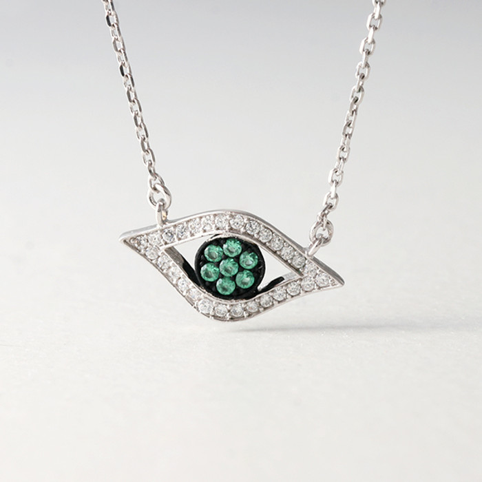 Green CZ Evil Eye Necklace Sterling Silver from kellinsilver.com