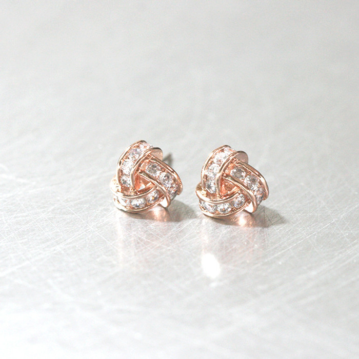 Swarovski Rose Gold Triangle Knot Earrings Studs from kellinsilver.com