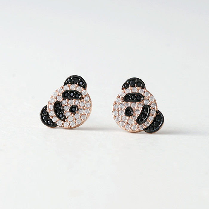Swarovski Rose Gold Panda Studs Earrings from kellinsilver.com