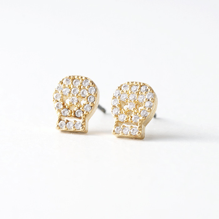 Swarovski Gold Small Skull Stud Earrings from kellinsilver.com