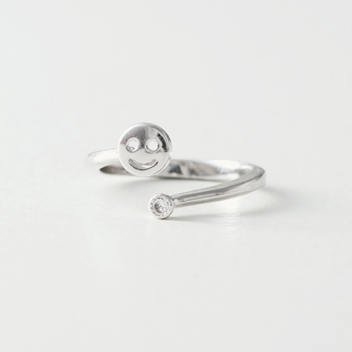 CZ White Gold Smile Midi Ring Wrap from kellinsilver.com