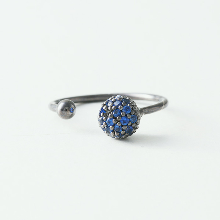 Sapphire CZ Double Ball Cuff Black Ring from kellinsilver.com