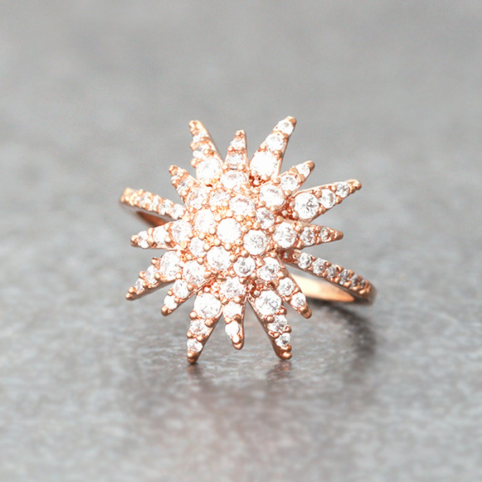 CZ Rose Gold Galaxia Ring Snowflake Ring from kellinsilver.com