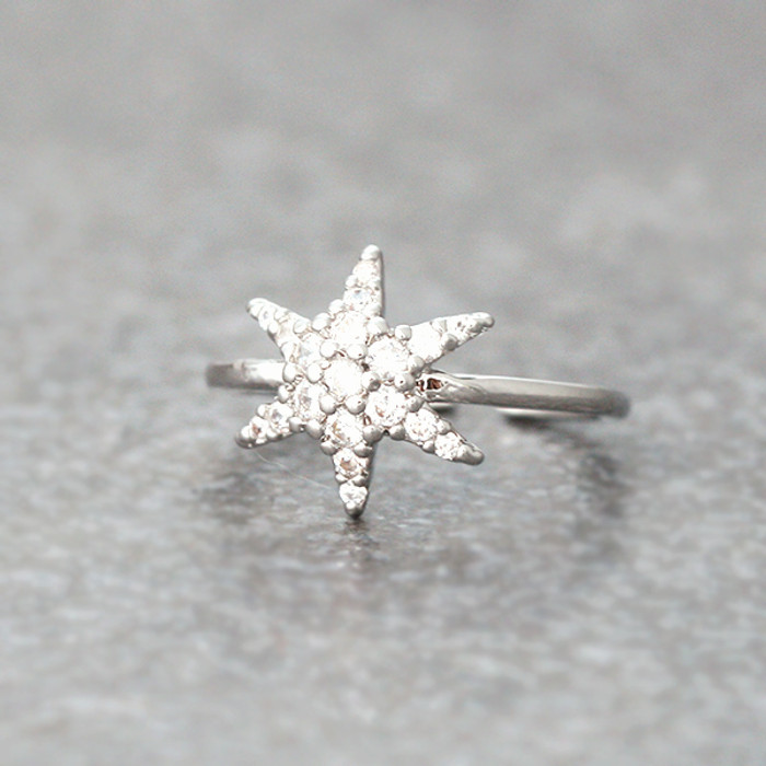 CZ White Gold Snowflake Midi Ring Snowflake Jewelry from Kellinsilver.com