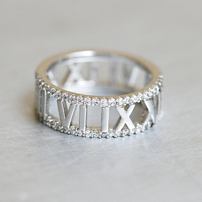 CZ Roman Numerals Ring Sterling Silver from kellinsilver.com