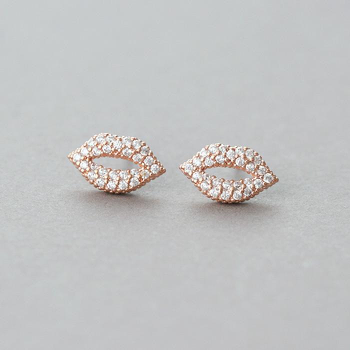 Micro Pave Swarovski Kiss Me Lip Stud Earrings Rose Gold from kellinsilver.com