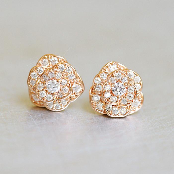 CZ Rose Gold Rose Stud Earrings Sterling Silver from kellinsilver.com