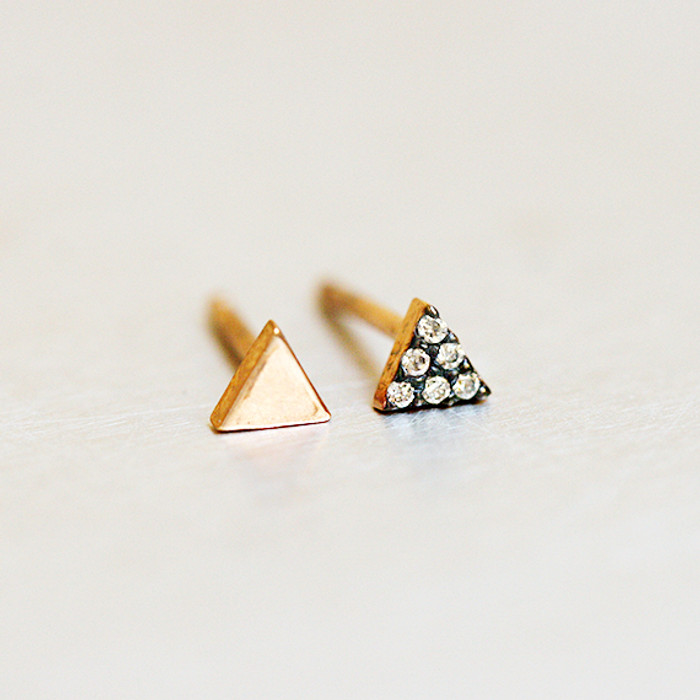 Asymmetrical Rose Gold Tiny Triangle Stud Earrings Sterling Silver from kellinsilver.com