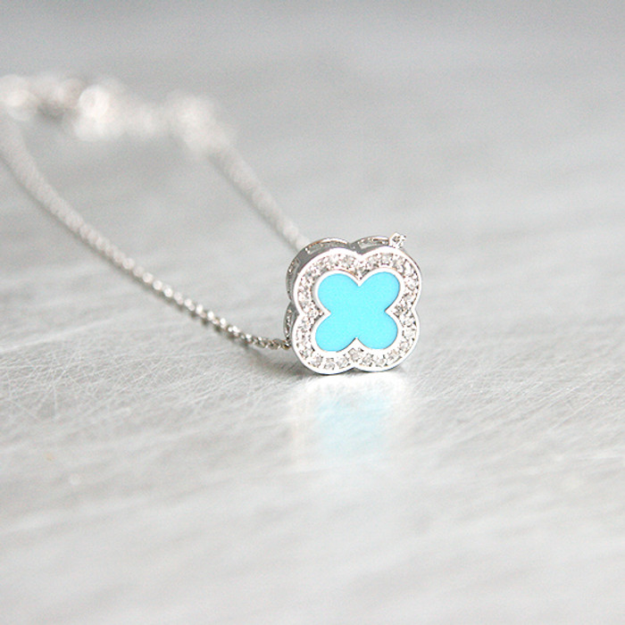 Turquoise Four Leaf Clover Necklace Sterling Silver from kellinsilver.com