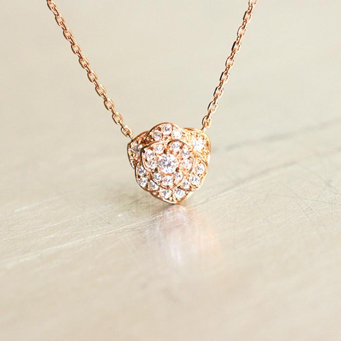 CZ Rose Gold Rose Necklace Sterling Silver from kellinsilver.com