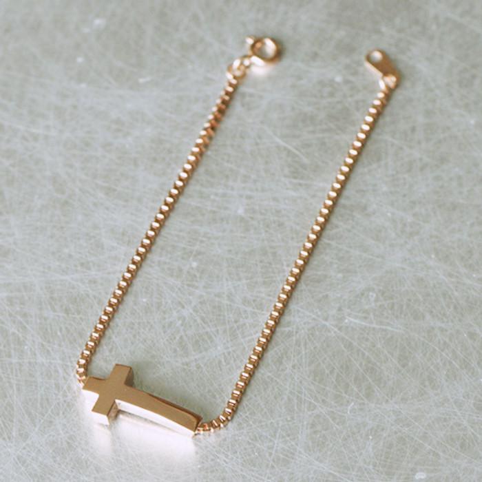 Rose Gold Box Chain Sideways Cross Bracelet Sterling Silver from kellinsilver.com