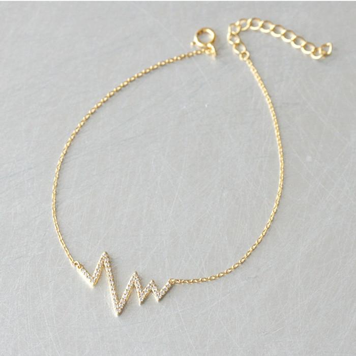 CZ Gold Heartbeat Bracelet Sterling Silver from kellinsilver.com
