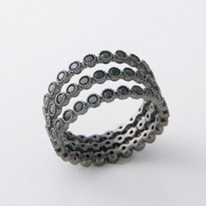 Sterling Silver Black Spinel Full Eternity Ring Set of 3